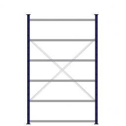 Ordner-Steck-Grundregal, doppelseitige Ausführung, HxBxT 2000x1270x630(2x315) mm, Oberfläche kunststoffbeschichtet