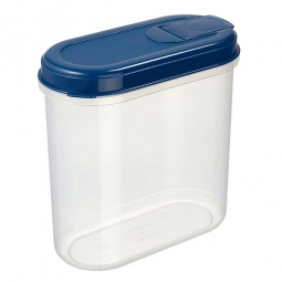 Lebensmitteldose mit Ausschüttöffnung, LxBxH 200x100x200 mm, 2,2 Liter, Dose glasklar, Deckel blau