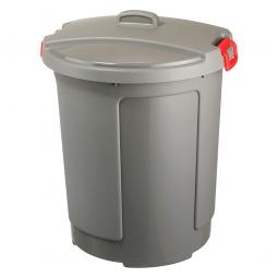 Deckeltonne mit Deckel, 75 Liter, Ø oben/untenxH 490/390 x 640 mm, grau