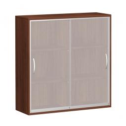 Glas-Schiebetürschrank PRO 3 Ordnerhöhen, Nussbaum, BxHxT 1600x1152x425 mm