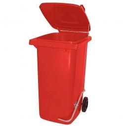 Müllbehälter, 120 Liter, rot, mit Fußpedal, HxBxT 930x480x550 mm, Niederdruck-Polyethylen (PE-HD)