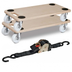 2x Universal-Transporthilfe + 1 Zurrgurt mit Aufrollmechanik GRATIS