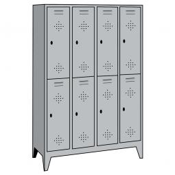 Stahl-Fächerschrank mit Füßen und Drehriegelverschluss, 8 Fächer, HxBxT 1850 x 1590 x 500 mm