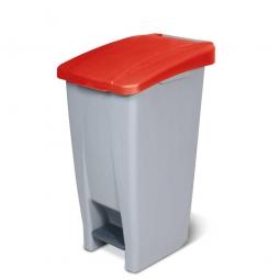 Tret-Abfallbehälter mit Rollen, PP,  BxTxH 380 x 490 x 700 mm, 60 Liter, grau/rot