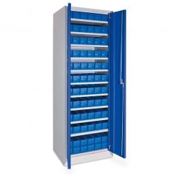 Schrank mit Regalkästen, blau, LxBxH 400 x 91 x 81 mm, Türen in enzianblau RAL 5010