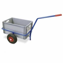 Handwagen mit Kunststoffkasten, Tragkraft 200 kg, kunststoffbeschichtet in Farbe blau RAL 5010
