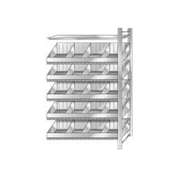 Schüttgut-Anbauregal, BxTxH 1210 x 525 x 2500 mm, 5 Ebenen, 20 Schüttfächer, 2 Fachböden, glanzverzinkt