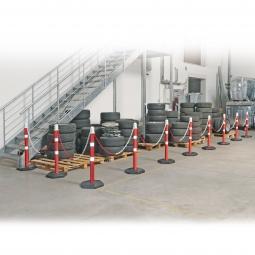 Ketten- / Warnständer Komplett-Set mit 10 Kettenständern, 18 m Kette, 1000 mm hoch, Kunststofffuß betongefüllt