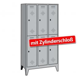 Stahl-Fächerschrank mit Füßen und Zylinderschloss, 6 Fächer, HxBxT 1850 x 1200 x 500 mm