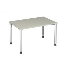 Schreibtisch Komfort, Gestell silber, Dekor lichtgrau, BxTxH 1200x800x720 mm