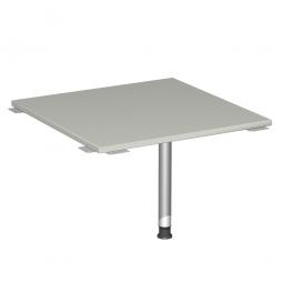 Verkettungsplatte, Volleck 90° Komfort, Gestell silber, Dekor lichtgrau, BxT 800x800 mm