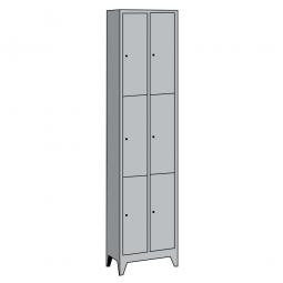 Stahl-Fächerschrank mit Füßen, 6 Fächer, HxBxT 1850 x 610 x 500 mm