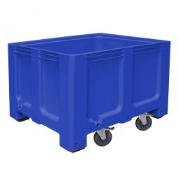 Großbox / Großbehälter mit 4 Füße und 4 Lenkrollen, 2 Feststellbremsen, 610 Liter, LxBxH 1200x1000x835 mm, Boden/Wände geschlossen, blau