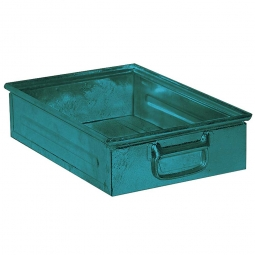 Stapelkasten ST4 aus Stahlblech, 15 Liter, LxBxH 450 x 300 x 120 mm, blaugrün