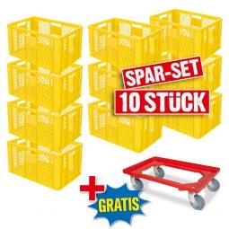 10x Euro-Stapelbehälter + 1 Transportroller GRATIS, Farbe gelb, LxBxH 600 x 400 x 320 mm