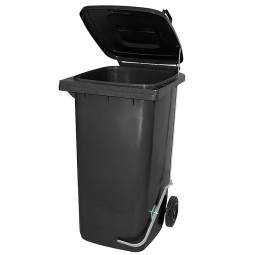 Müllbehälter, 120 Liter, anthrazit, mit Fußpedal, BxTxH 480x550x930 mm, Niederdruck-Polyethylen (PE-HD)
