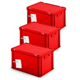 3x Ordner-Archivboxen, für je 7 Ordner (A4, breiter Rücken), inkl. Edelstahl-Zettelklemmer, staubsicher, rot