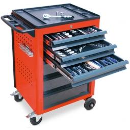 Werkstattwagen, Farbe verkehrsrot, mit Werkzeugset, LxBxH 950x610x450 mm, Tragkraft 240 kg
