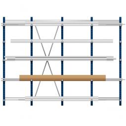 Komplettes Kragarmregal, leichte Ausführung, doppelseitige Nutzung, BxTxH 4295 x 2x600 x 2480 mm, Gesamt-Tragkraft 7000 kg