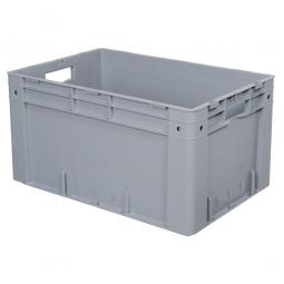 Schwerlast-Eurobehälter, geschlossen, PP, LxBxH 600 x 400 x 320 mm, 60 Liter, 2 Durchfassgriffe, grau
