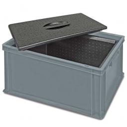 Eurobehälter mit EPP-Isolierbox, geschlossen, LxBxH 600 x 400 x 320 mm, 34 Liter, grau
