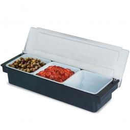Zutatenbehälter mit 3 Einsätzen je 1 Liter, BxTxH 500 x 155 x 95 mm